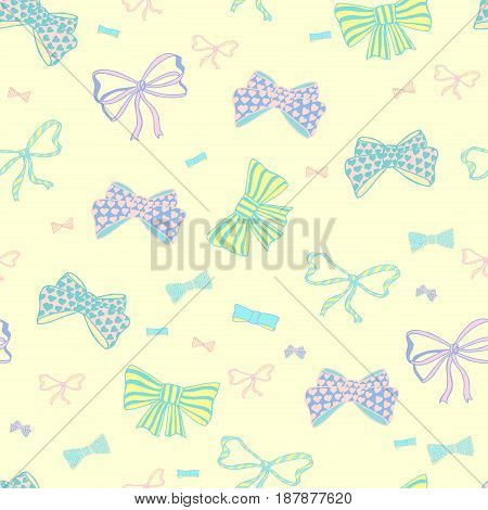 Seamless pattern with hand drawn bow-tie. Doodles vector illustration.