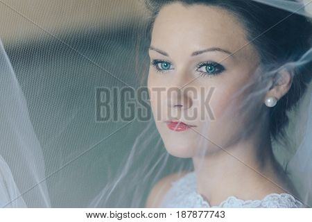 Close Portrait Of Young Beautiful Bride