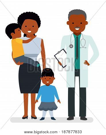 Caring for the health of the child. The pediatrician and the mother with son and daughter on a white background. African Americans family. Children's doctor. Vector illustration in a flat style
