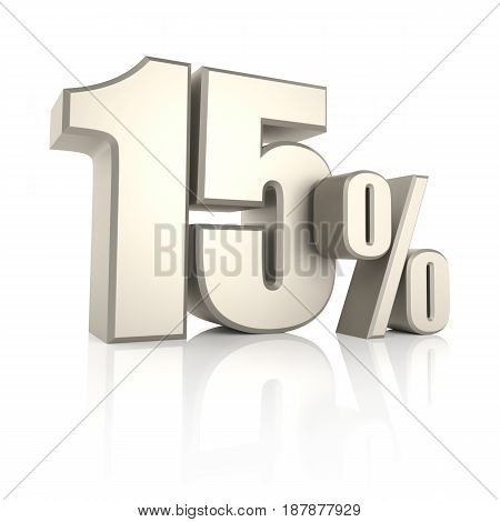 15 percent isolated on white background. 3d render