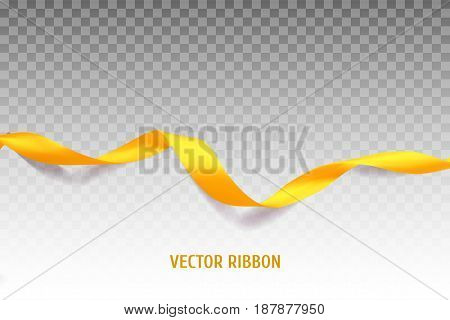 Yellow vector ribbon made with gradient mesh. Realistic illustration