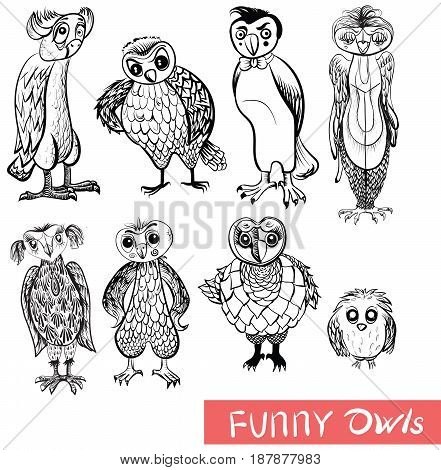 Set of cartoon owls and owlets Isolated doodle birds on white background. Black and white drawing.