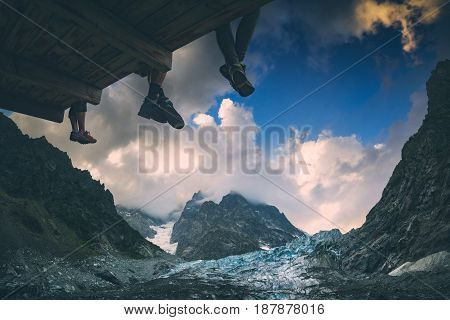 Hikers Near The Glacier. Instagram Stylization