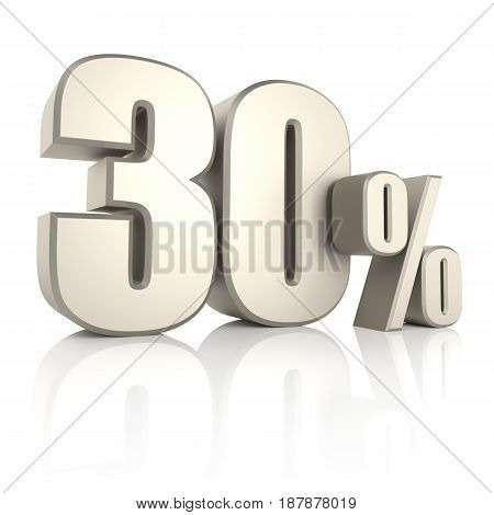 30 percent isolated on white background. 3d render