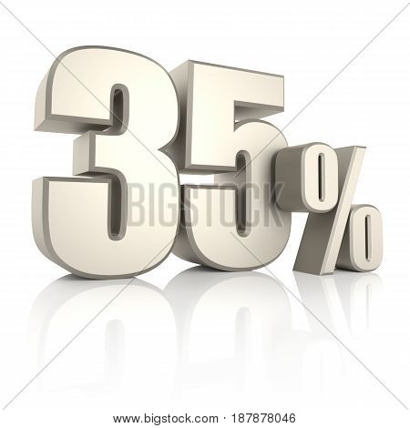 35 percent isolated on white background. 3d render