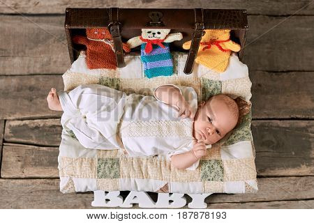 Baby and knitted toy animals. Top view of an infant.