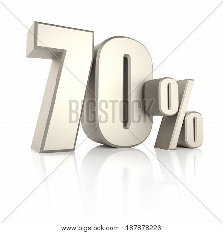 70 percent isolated on white background. 3d render