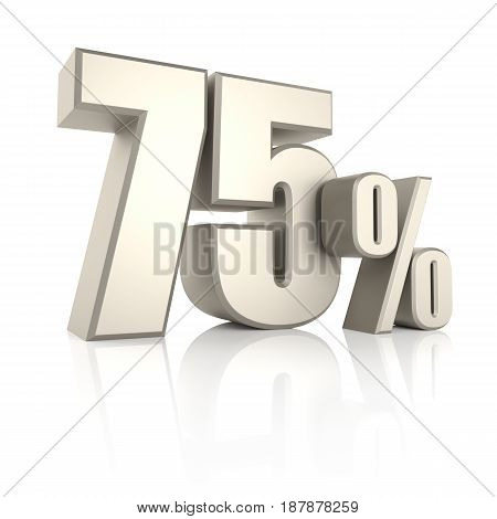 75 percent isolated on white background. 3d render