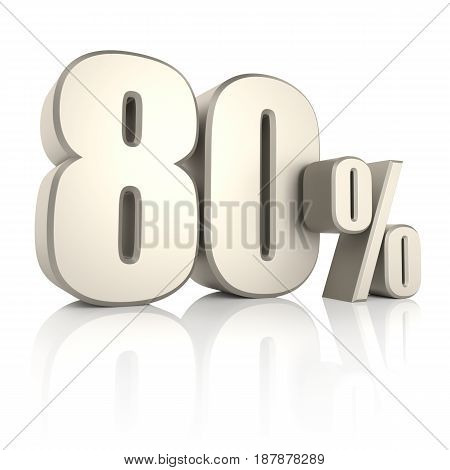 80 percent isolated on white background. 3d render