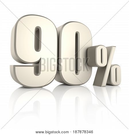 90 percent isolated on white background. 3d render