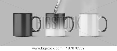 Blank magic mug mock up isolated cold and hot state 3d rendering. Magical heat sensitive cup mock up water boiling. Color changing beverage utensil template. Morphing ceramic with thermoprint space
