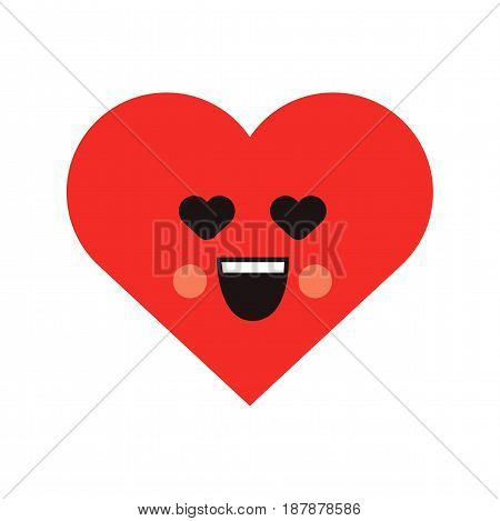 Smile heart icon. Red loving heart character