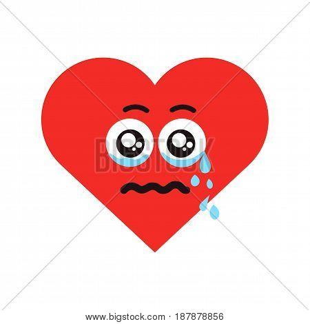 Crying heart emoticon. Flat vector illustration isolated on white background