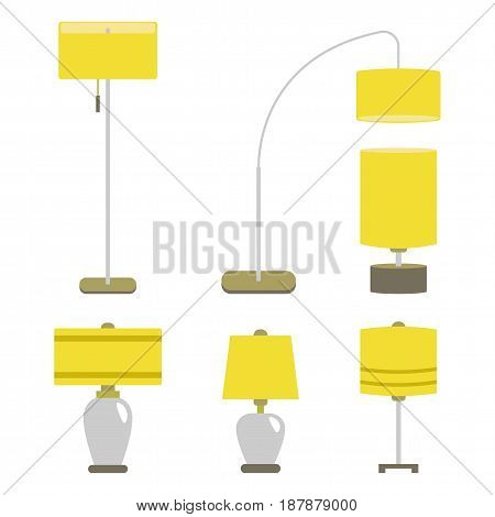Set of lamps. Furniture and floor lamps and table lamps. Vector illustration lamp light isolated electric interior energy furniture.