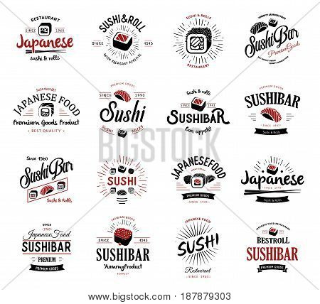 A large set of vector logos and emblems for restaurants of Japanese food in a retro style with lettering and icons and shape of sushi, roll, chopsticks, ribbons and rays. Label and illustration group