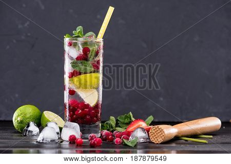 Cranberry Lemonade In Glass With Ice Cubes, Cocktail Bar Background Concept