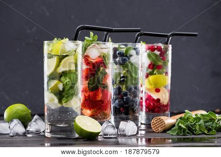 Different Fresh Lemonades In Glasses With Ice Cubes, Cocktail Glasses Concept