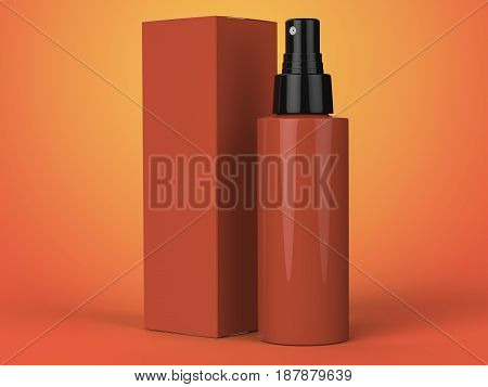Cosmetics Containers, Bottle With Package On Colorful Background. 3D Illustration.