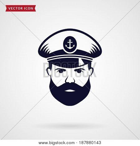 Ship's captain icon. Sea theme. Vector symbol.