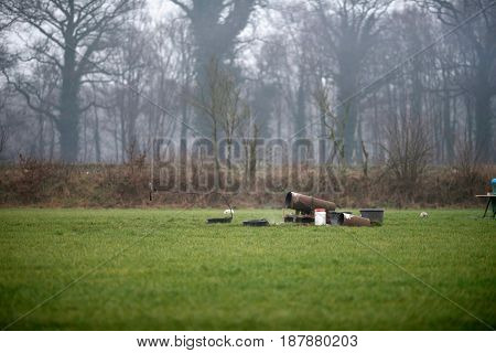 Installation for shooting the carbid in rural area on New Year's Day. The Netherlands. Gelderland. Achterhoek. Geesteren.