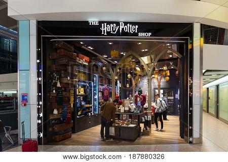 March 23 2017 - London U.K.: Harry Potter Store at Heathrow airport terminal in London U.K. Passengers shopping while waiting flight connections.