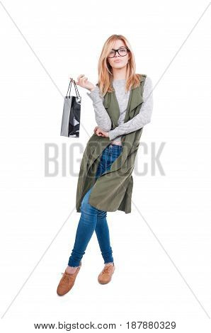 Blonde Female Posing With Paper Bag