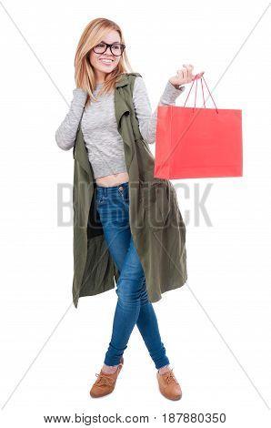 Cheerful Fashionable Girl Holding Shopping Bag