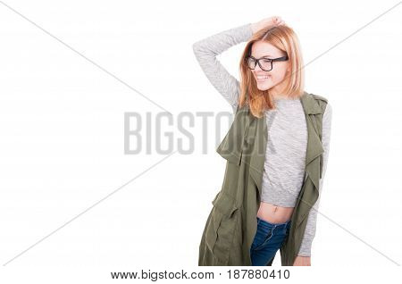 Stylish Blonde Woman Posing In Fashionable Clothes