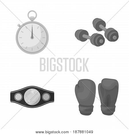 Boxing, sport, stopwatch, watch .Boxing set collection icons in monochrome style vector symbol stock illustration .