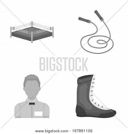 Ring, rope, referee, sneakers .Boxing set collection icons in monochrome style vector symbol stock illustration .