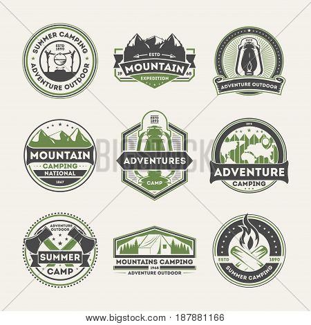 Adventure outdoor vintage isolated label set. Summer camping symbols, mountain explorer sign, touristic explorer badge, nature hiking and trekking logo. People travel activity vector illustration.
