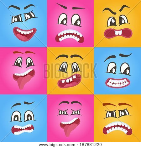 Funny smileys faces isolated icon set. Happiness, anger, joy, fury, sad, playful, fear, surprise smiley, eyes and mouth, funny comic faces. Emoji vector characters set with different expressions