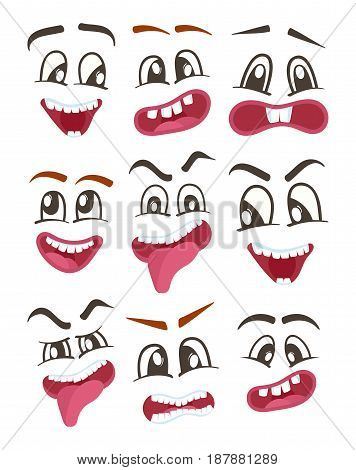 Smiley faces with different facial expressions. Emoji vector characters set, emoticon collection. Happiness, anger, joy, fury, sad, playful, fear, surprise smiley, eyes and mouth, funny comic faces.
