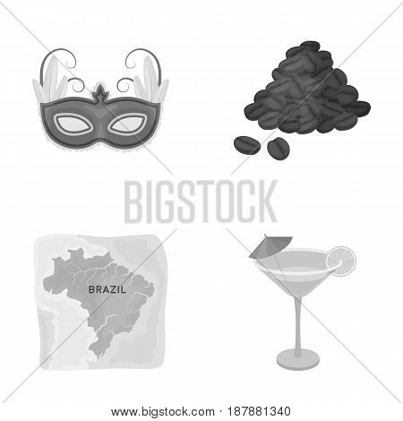 Brazil, country, mask, carnival . Brazil country set collection icons in monochrome style vector symbol stock illustration .