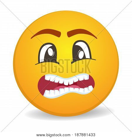 Scared 3d round yellow smiley face vector icon. Funny facial expression emoji, cute comic emoticon isolated vector illustration.