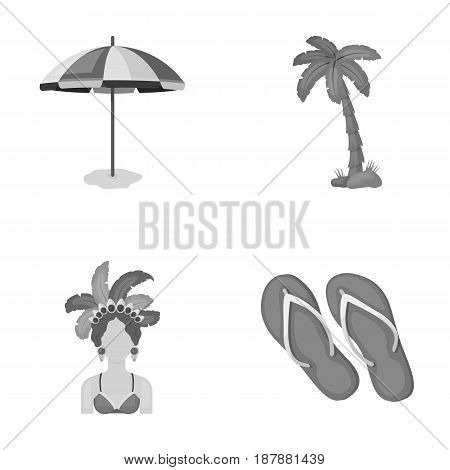 Brazil, country, umbrella, beach . Brazil country set collection icons in monochrome style vector symbol stock illustration .