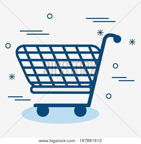 A blue shopping cart over white background. Vector illustration.