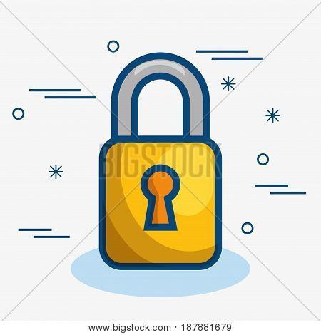 A yellow padlock over white background. Vector illustration.