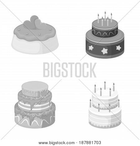 Sweetness, dessert, cream, treacle .Cakes country set collection icons in monochrome style vector symbol stock illustration .