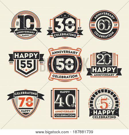 Anniversary celebration retro isolated label set. Birthday party logo, holiday festive celebration emblem with number years jubilee. Happy anniversary celebration badge vector illustration collection.
