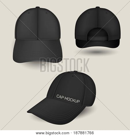 Black caps mockup in front, side and back views. Vector templates. Fully editable handmade mesh. Realistic hat set used for advertising labels, logo, emblem design or textile goods, for websites.