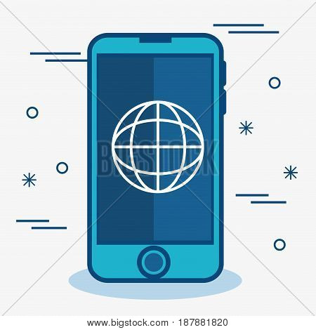 A blue smartphone with internet globe sign over white background. Vector illustration.