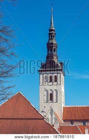View of Niguliste Church (Saint Nicholas Church) in old town. Tallinn Estonia Baltic States