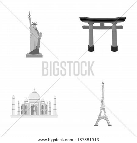 Building, interesting, place, tower .Countries country set collection icons in monochrome style vector symbol stock illustration .