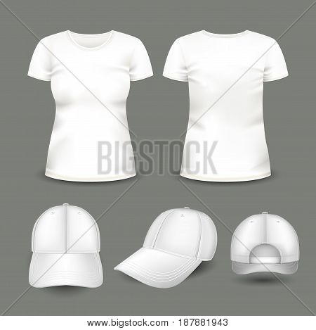 Set of women's white t-shirt and cap in front and back views. Volumetric vector template. Realistic shirts mockup used for advertising labels, logo, emblem design or textile goods, for websites.