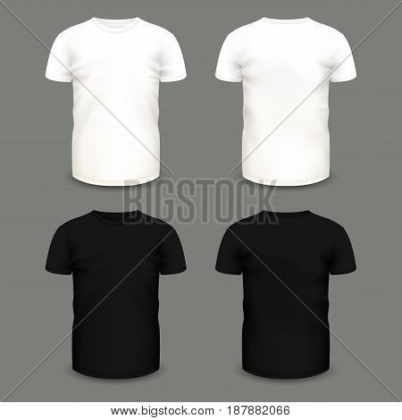 Set of men's white and black t-shirts in front and back views. Volumetric vector template. Realistic shirts mockup used for advertising labels, logo, emblem design or textile goods, for websites.