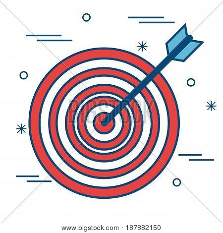 A target with an arrow over white background. Vector illustration.