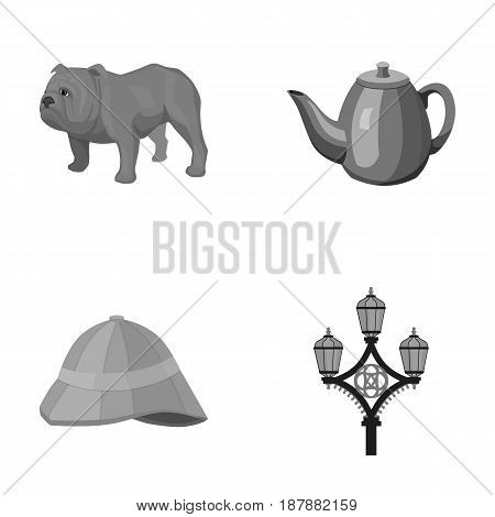breed dog, teapot, brewer .England country set collection icons in monochrome style vector symbol stock illustration .