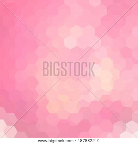 Vector background with pastel pink hexagons. Can be used in cover design, book design, website background. Vector illustration