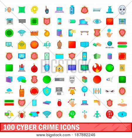 100 cyber crime icons set in cartoon style for any design vector illustration